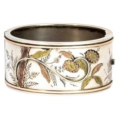 Aesthetic Victorian Two-Tone Gold Overlay Silver Bangle