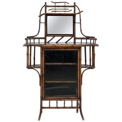 Aesthetics Movement Late Victorian Bamboo and Black Lacquered Étagère Bookcase