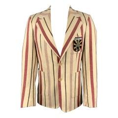 AESTHETICTERRORISTS by WALTER VAN BEIRENDONCK Size 40 Cream Stripe Jacket