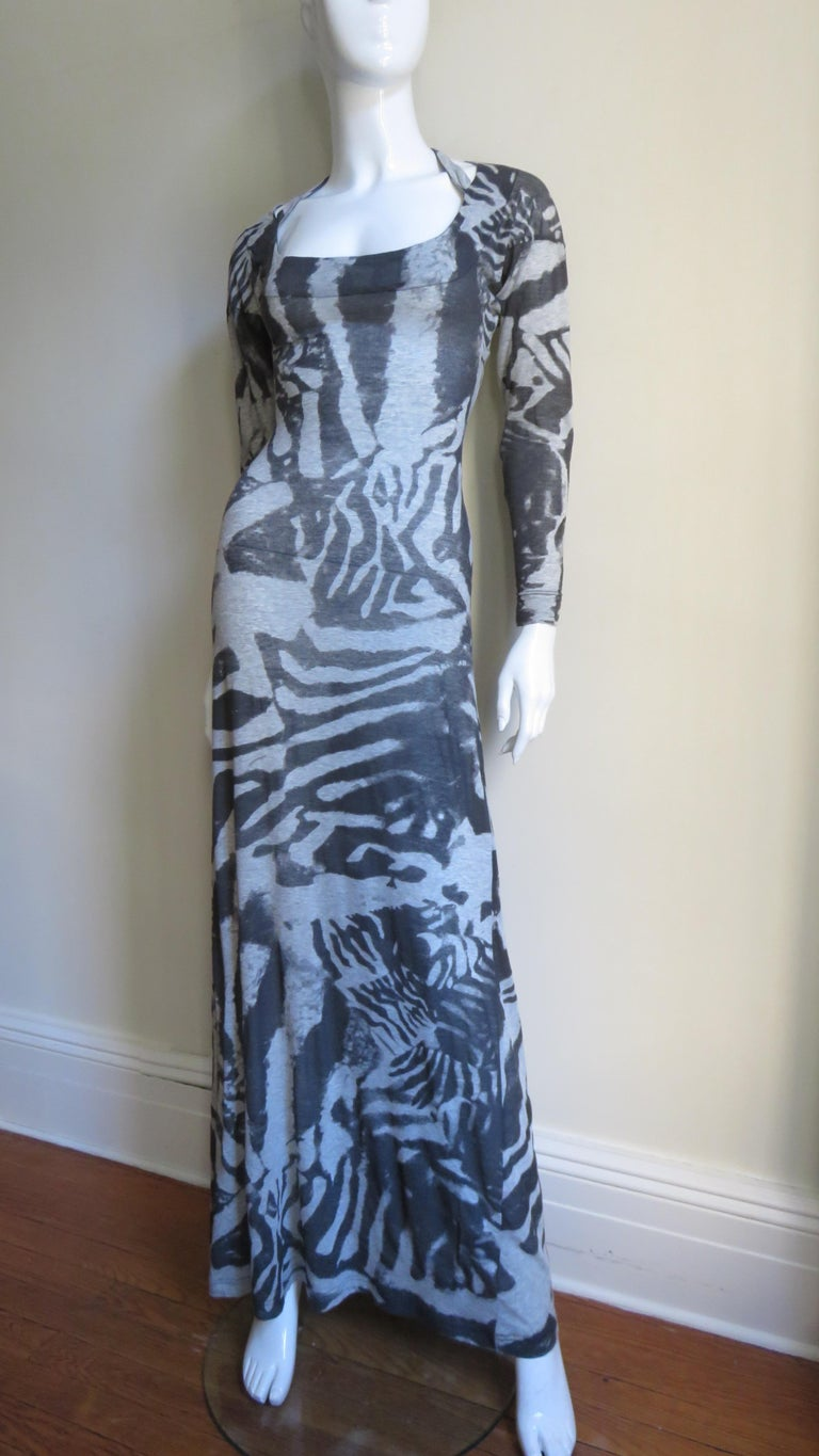 Gray Aexander McQueen Abstract Print Backless Maxi Dress For Sale