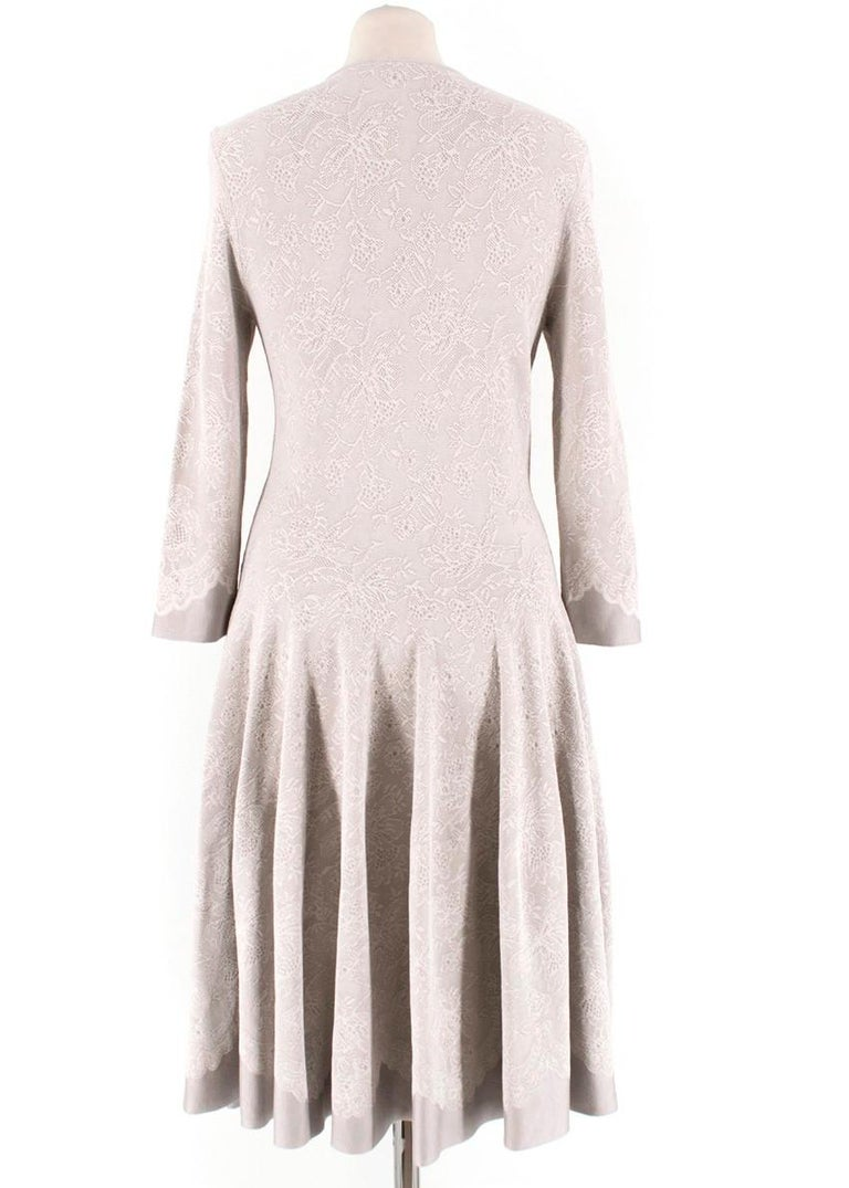 Beige Aexander McQueen Grey Floral Lace Dress - Size Medium For Sale