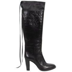 A.F Van De Vorst Black Croco Leather Boots - Size 38