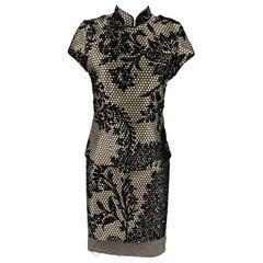 A.F. VANDERVORST Size 6 Black & Silver Jacquard Acetate Blend Skirt Set