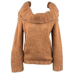 A.F. VANDERVORST Size S Camel Mohair Blend Cowl Neck Sweater
