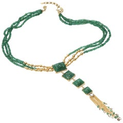 Affinity 20 Karat Drop Emerald Necklace