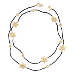Affinity 20 Karat Necklace with Black Spinel Beads, Flower and Opera Components