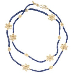 Affinity 20 Karat Necklace with Sapphire Beads, Flower and Opera Components