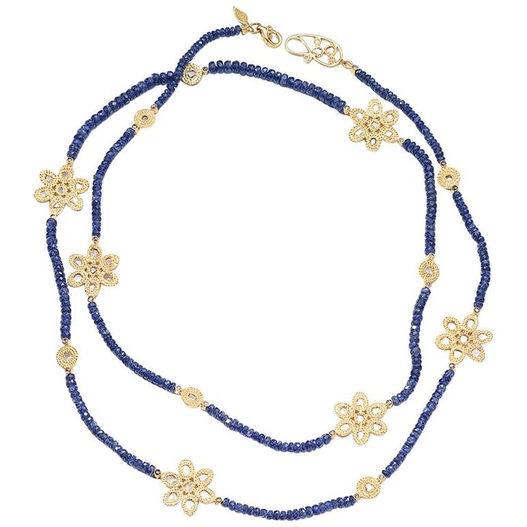 Affinity 20 Karat Necklace with Sapphire Beads, Flower and Opera Components For Sale