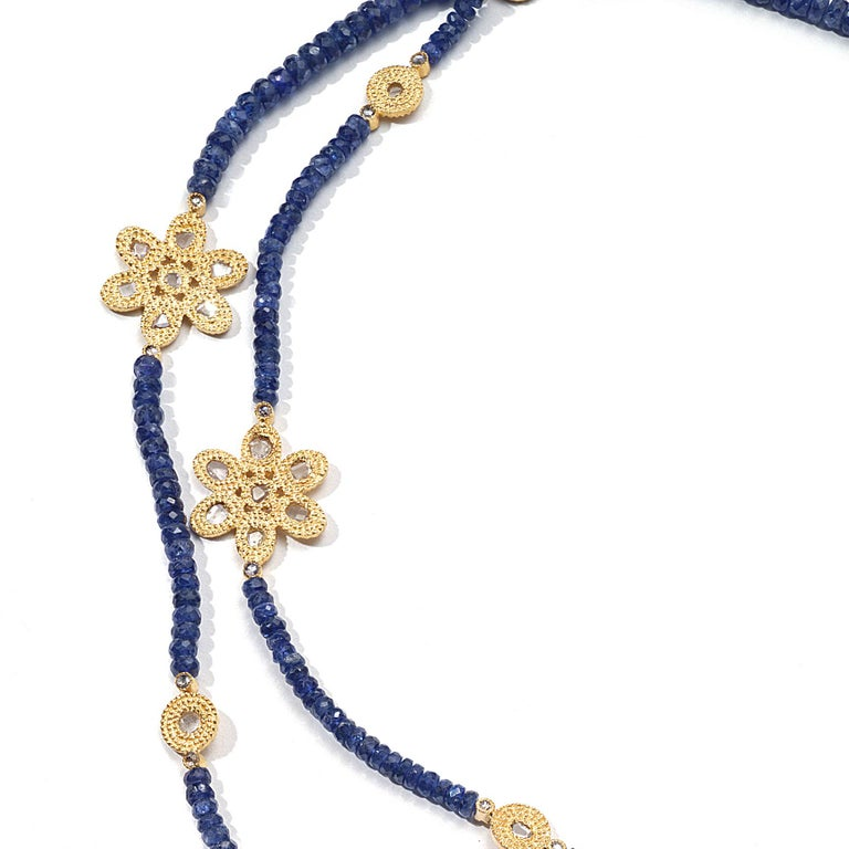 36IN Necklace with 98.02CTS Sapphire Beads,3.42CTS Diamonds, 20K Gold Flower Components, and Opera Components