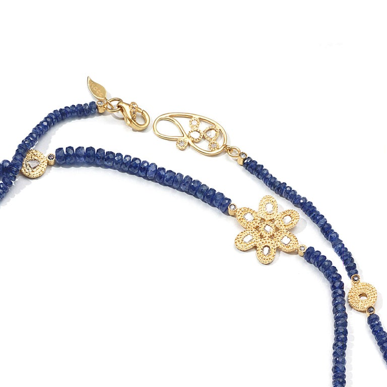 Contemporary Affinity 20 Karat Necklace with Sapphire Beads, Flower and Opera Components For Sale
