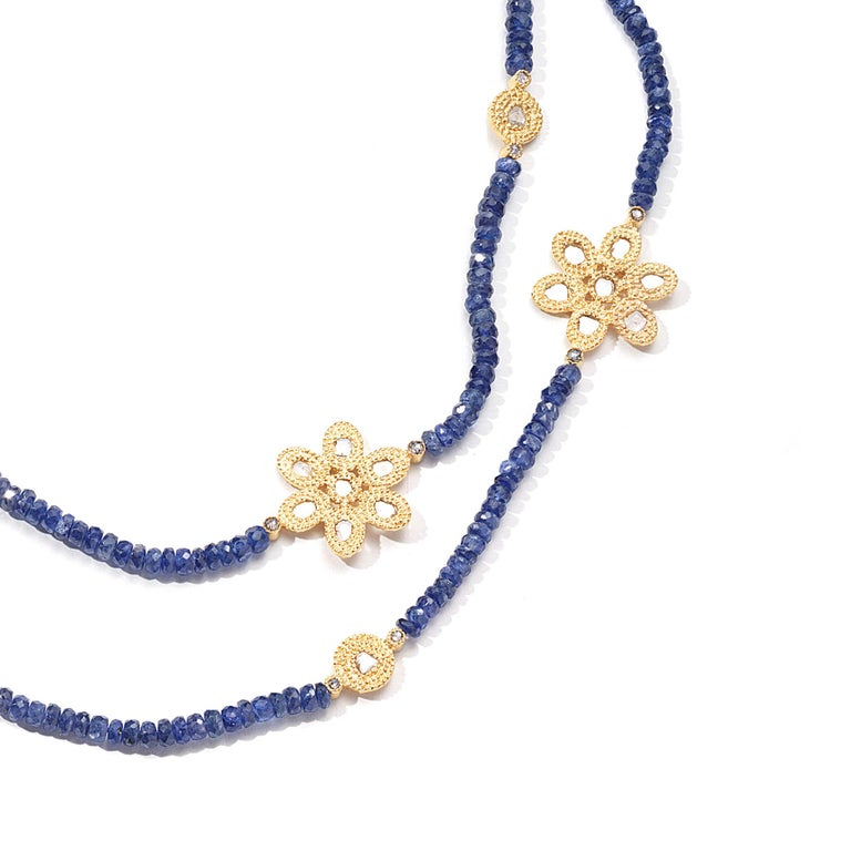 Affinity 20 Karat Necklace with Sapphire Beads, Flower and Opera Components In New Condition For Sale In Secaucus, NJ