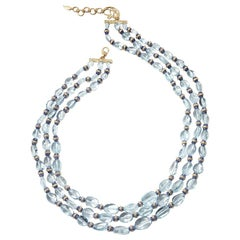 Aquamarine and Diamonds with Blue Sapphire Statement Necklace