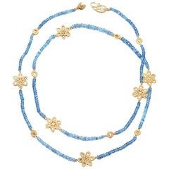 Affinity Aquamarine and Rose Cut Diamond Necklace