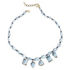 Carved Beaded Aquamarine, Blue Sapphire and Diamond Necklace
