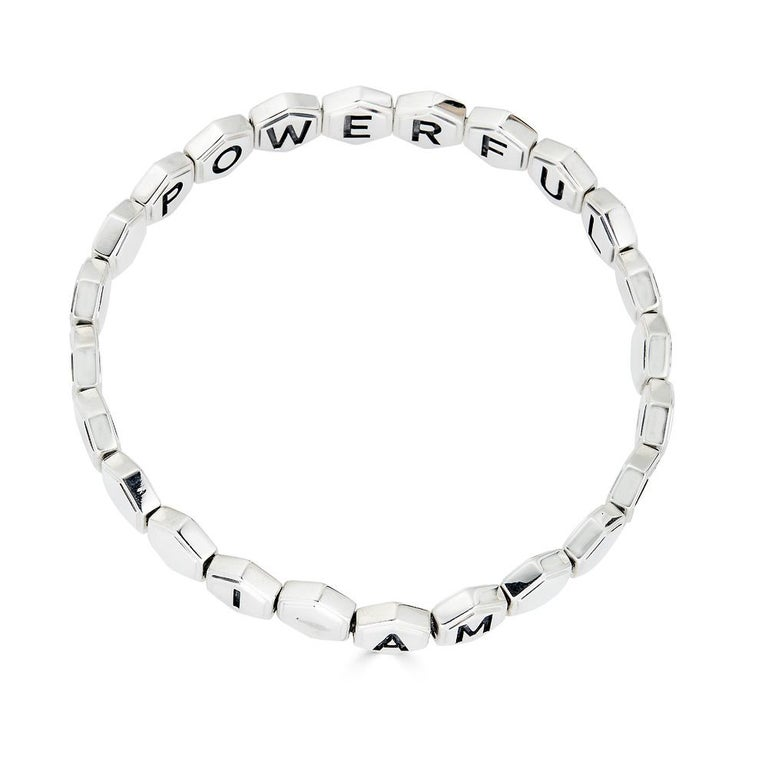 Silver Affirmation Bracelet For Sale 1