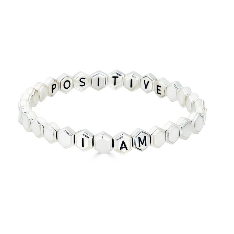 Silver Affirmation Bracelet For Sale 2