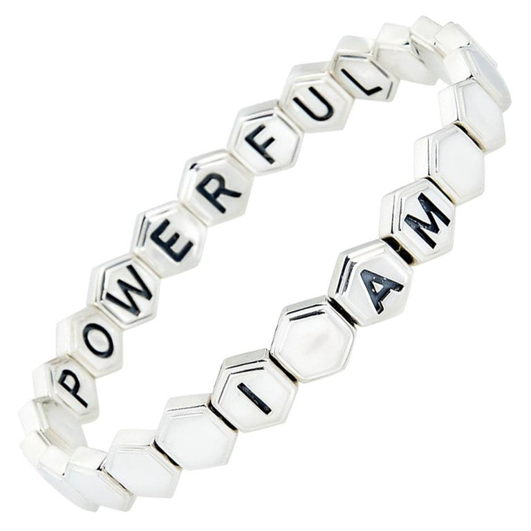 Silver Affirmation Bracelet For Sale