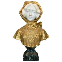 Affortunato Gory Bronze and Marble Bust of A Woman