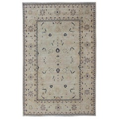 Afghan All-Over Tabriz Rug in Blue, Cream and light Butter Color