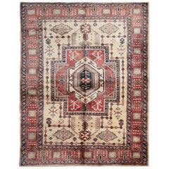 Afghan Kazak Cream Rugs, Traditional Carpet, Geometrical Gold Beige Rug