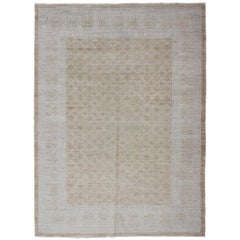 Afghan Khotan Rug in Soft Gold and All-Over Pattern with Geometric Border