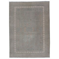 Afghan Khotan Rug with Geometric Design in Shades of Light Blue and Taupe
