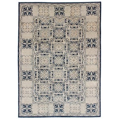 Charming Khotan Design Rug with Geometric Medallions in Navy Blue and Ivory