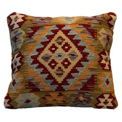 Afghan Kilim Cushion Cover Handwoven Wool Scatter Pillow Case