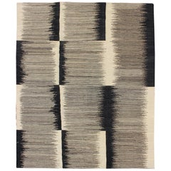 Afghan Kilim Rug with Black, White and Gray Checkerboard Pattern