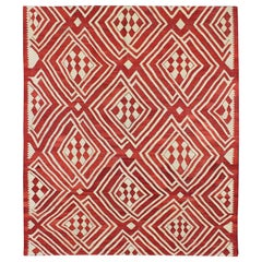 Afghan Kilim Rug with Overlapping Diamond Pattern in Garnet Red and Ivory