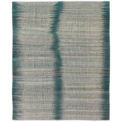Modern Design Kilim Rug with Vertical Strip in White, Cream, Gray and Teal