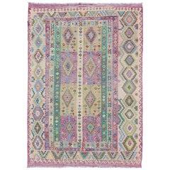 Modern Afghan Flat Weave Kilim Rug in Purple, Lavender, Green, yellow and Cream