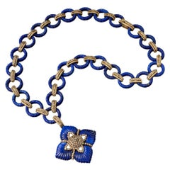 Afghan Lapis Lazuli and Diamond Pendant Necklace