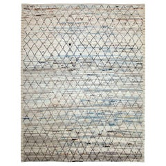 Afghan Moroccan Style Rug with Black/Brown Diagonal Lines on Ivory/Blue Field