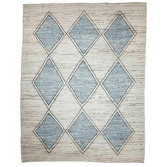 Afghan Moroccan Style Rug with Blue and Black Diamond Details on Ivory Field