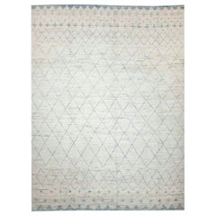 Afghan Moroccan Style Rug with Blue Tribal Patterns on Ivory Field
