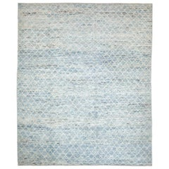 Afghan Moroccan Style Rug with Ivory Diagonal Tile Details on Blue Field