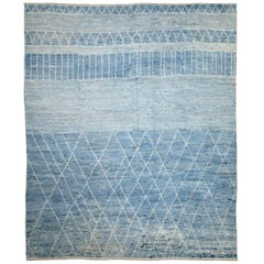 Afghan Moroccan Style Rug with White Tribal Details on Blue Field