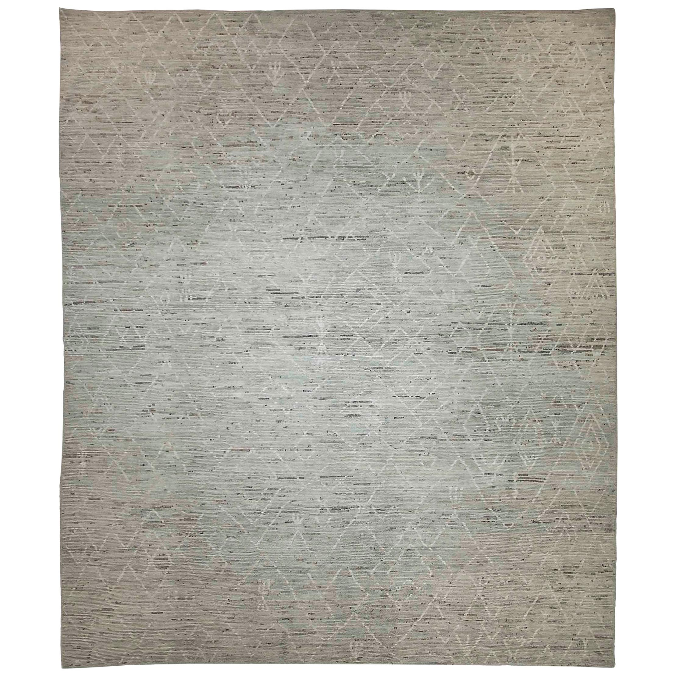 Afghan Moroccan Style Rug with White Tribal Details on Mixed Gray & Ivory Field