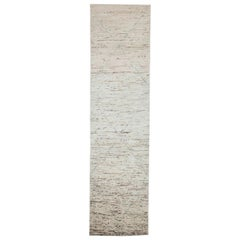 Afghan Moroccan Style Runner Rug in Ivory with Blue Lines and Brown Streaks