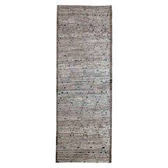 Afghan Moroccan Style Runner Rug in Ivory with Brown & Blue Diagonal Details