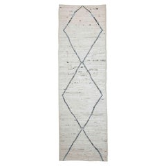 Afghan Moroccan Style Runner Rug in Ivory with Gray and Blue Diamond Details