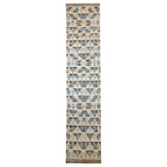 Afghan Moroccan Style Runner Rug with Brown & Blue Triangle Details