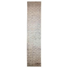 Afghan Moroccan Style Runner Rug with Ivory Tribal Details on Beige Field