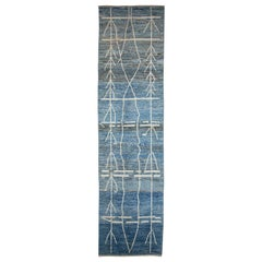 Afghan Moroccan Style Runner Rug with White Tribal Details on Blue & Gray Field