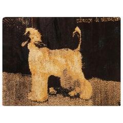 Afghan Pictorial Dog Design Black and Gold Goat Hair Rug