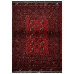 Afghan Rug Handmade Carpet, Oriental Red Wool Rug, 1980