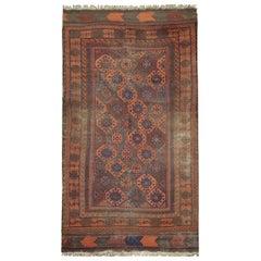 Afghan Rug, Orange Blue Wool Carpet Handmade Vintage Rug