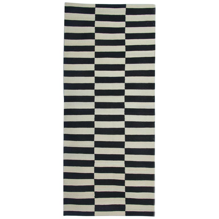 Afghan Runner Rugs, Black And White Kilim Rugs, Striped