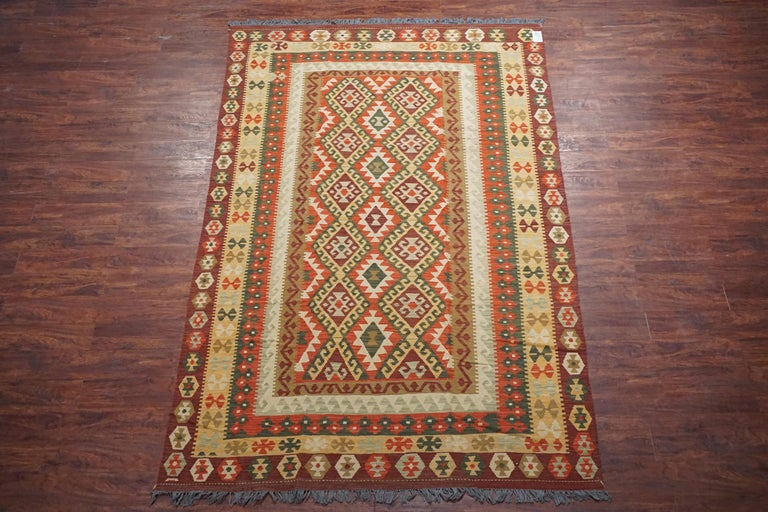 Vintage Afghan Tribal Chobi Kilim Rug,  circa 1990  Measures: 6' 5